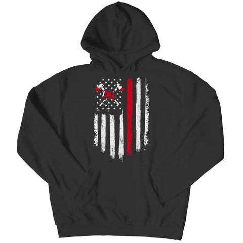Image of Z--firefighter Axe American Flag - Hoodie - Black / s - Hoodie - Visualtshirt.com