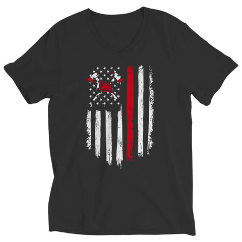 Image of Z--Firefighter Axe American Flag - Hoodie - Ladies V-Neck / Black / S - Hoodie - Visualtshirt.com