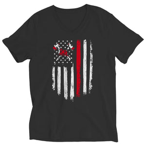 Z--Firefighter Axe American Flag - Hoodie - Ladies V-Neck / Black / S - Hoodie - Visualtshirt.com