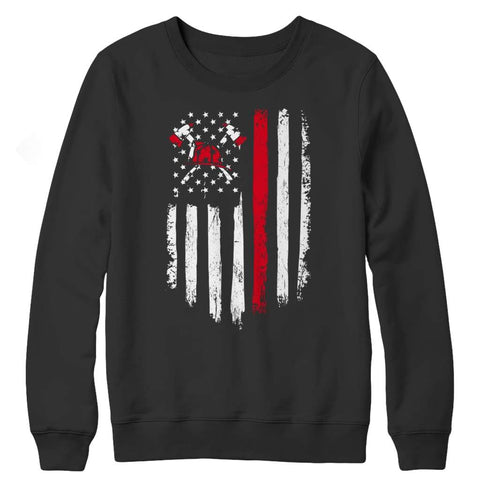 Image of Z--Firefighter Axe American Flag - Hoodie - Crewneck Fleece / Black / S - Hoodie - Visualtshirt.com