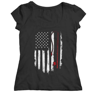 Fishing Flag - V-neck T-shirt - Ladies Classic Shirt / Black / s - V-neck - Visualtshirt.com