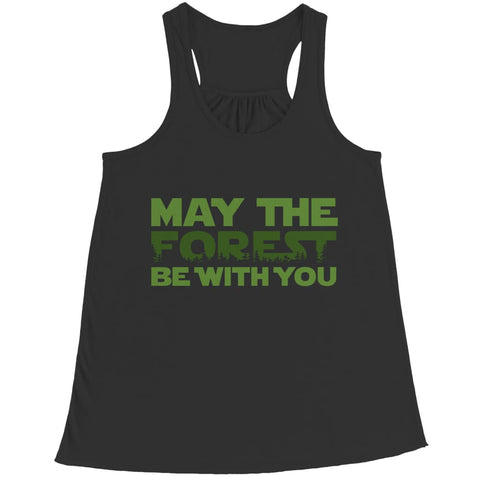 May the Forest be with you - Crewneck Fleece - Bella Flowy Racerback Tank / Black / s - Visualtshirt.com