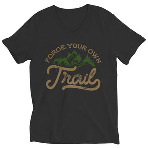 Forge your own Trail - Long Sleeve - Ladies V-neck / Black / s - Visualtshirt.com