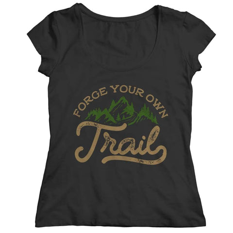 Image of Forge your own Trail - V-neck T-shirt - Ladies Classic Shirt / Black / s - V-neck - Visualtshirt.com