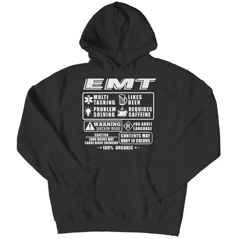 Image of Funny Emt - Long Sleeve - Hoodie / Black / s - Visualtshirt.com