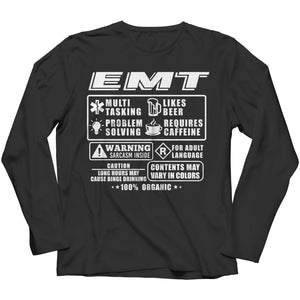 Funny Emt - Long Sleeve - Black / s - Visualtshirt.com