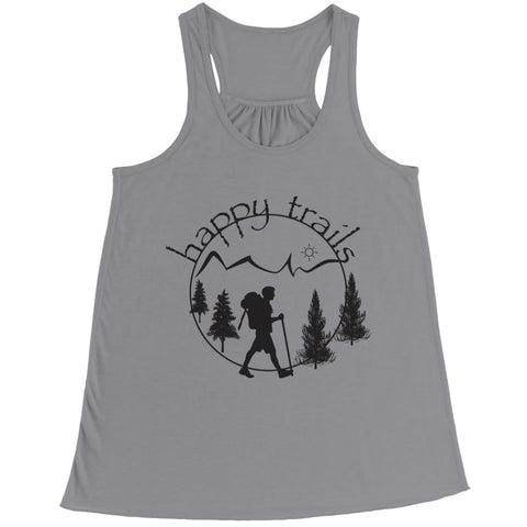 Image of Happy Trails - Belly Flowy Racerback Tank - Bella / Athletic Heather / s - Visualtshirt.com
