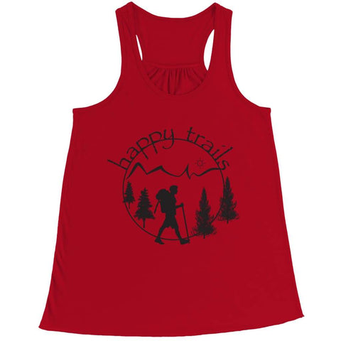 Image of Happy Trails - Belly Flowy Racerback Tank - Bella / Red / s - Visualtshirt.com