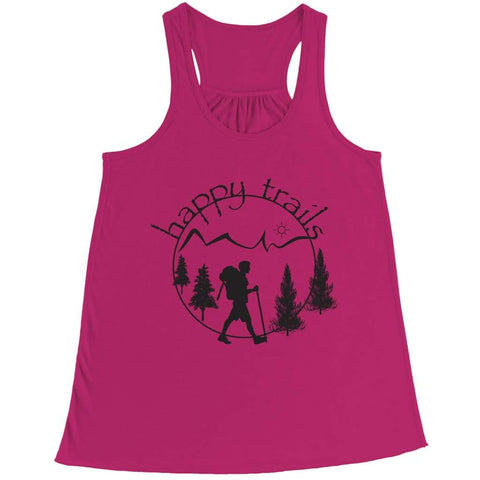 Image of Happy Trails - Belly Flowy Racerback Tank - Bella / Pink / s - Visualtshirt.com