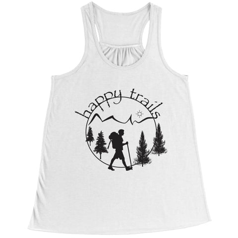 Image of Happy Trails - Belly Flowy Racerback Tank - Bella / White / s - Visualtshirt.com