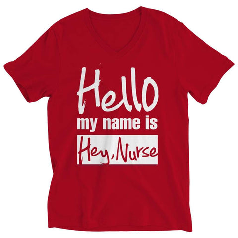 Image of Hello my name is Hey Nurse - Long Sleeve - Ladies V-neck / Red / s - Visualtshirt.com