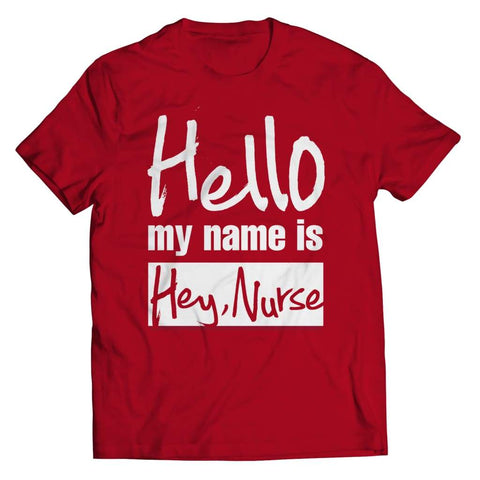 Image of Hello my name is Hey Nurse - Long Sleeve - Unisex Shirt / Red / s - Visualtshirt.com