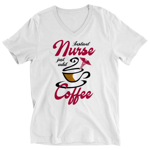 Image of Instant Nurse just Add Coffee - Crewneck Fleece - Ladies V-neck / White / s - Visualtshirt.com
