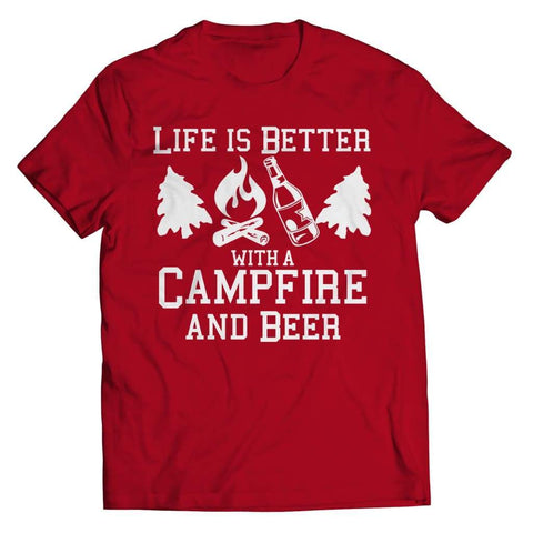 Life is better with a Campfire and Beer - Long Sleeve - Unisex Shirt / Red / s - Visualtshirt.com
