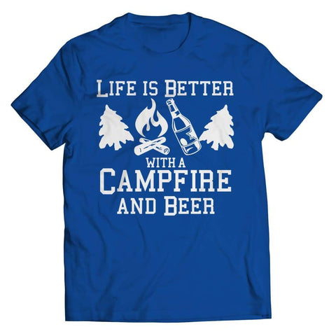 Life is better with a Campfire and Beer - Long Sleeve - Unisex Shirt / Royal / s - Visualtshirt.com