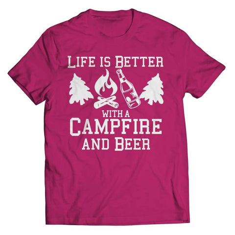 Life is better with a Campfire and Beer - Long Sleeve - Unisex Shirt / Pink / s - Visualtshirt.com