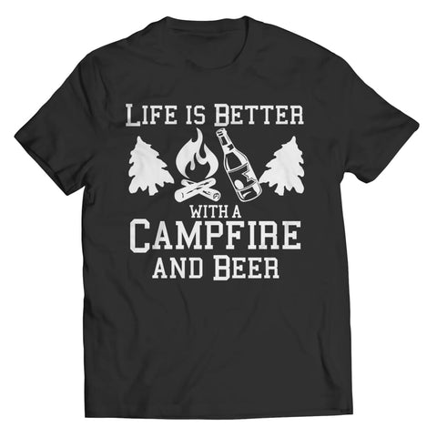 Life is better with a Campfire and Beer - Long Sleeve - Unisex Shirt / Black / s - Visualtshirt.com
