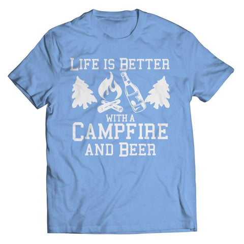 Life is better with a Campfire and Beer - Long Sleeve - Unisex Shirt / Light Blue / s - Visualtshirt.com