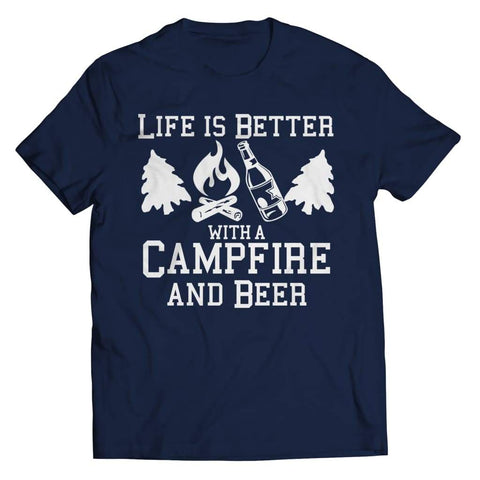 Life is better with a Campfire and Beer - Long Sleeve - Unisex Shirt / Navy / s - Visualtshirt.com