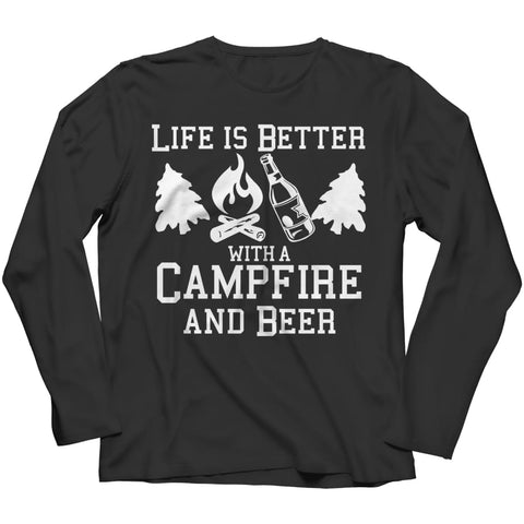 Life is better with a Campfire and Beer - Long Sleeve - Black / s - Visualtshirt.com