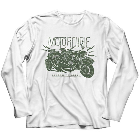Image of Motorcycle Wh 2846 Military Series - Crewneck Fleece - Long Sleeve / White / s - Visualtshirt.com