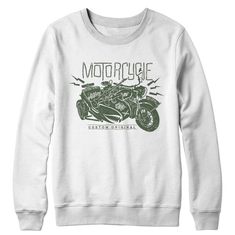 Image of Motorcycle Wh 2846 Military Series - Crewneck Fleece - White / s - Visualtshirt.com