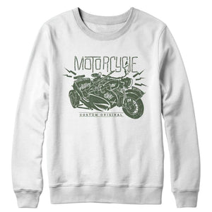 Motorcycle Wh 2846 Military Series - Crewneck Fleece - White / s - Visualtshirt.com