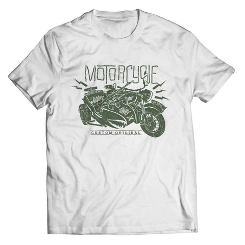 Image of Motorcycle Wh 2846 Military Series - Crewneck Fleece - Unisex Shirt / White / s - Visualtshirt.com