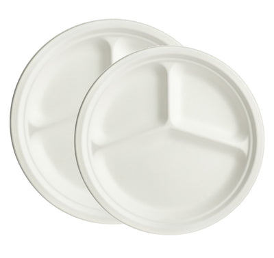Bagasse Compartment Plates - Round