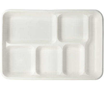Bagasse Fiber School Trays - White