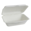 "Bagasse Fiber ""Clamshell"" Take-Out Box - White"