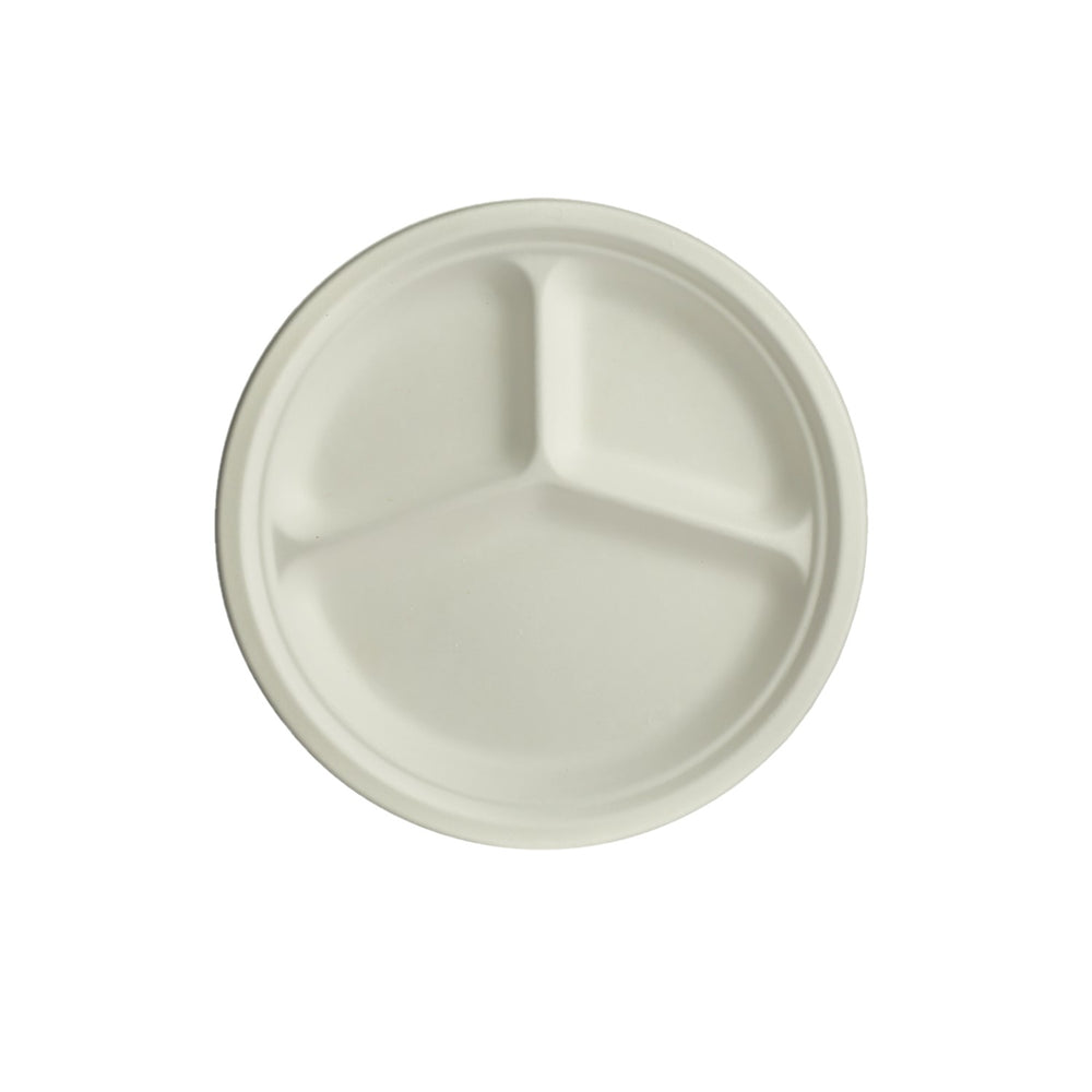 Bagasse Round 3 Compartment Plates