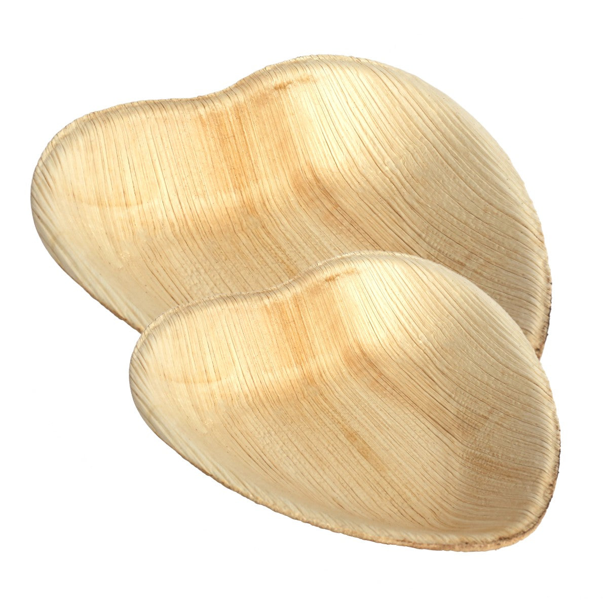 Palm Leaf Heart Shaped Plates - 25 Pack