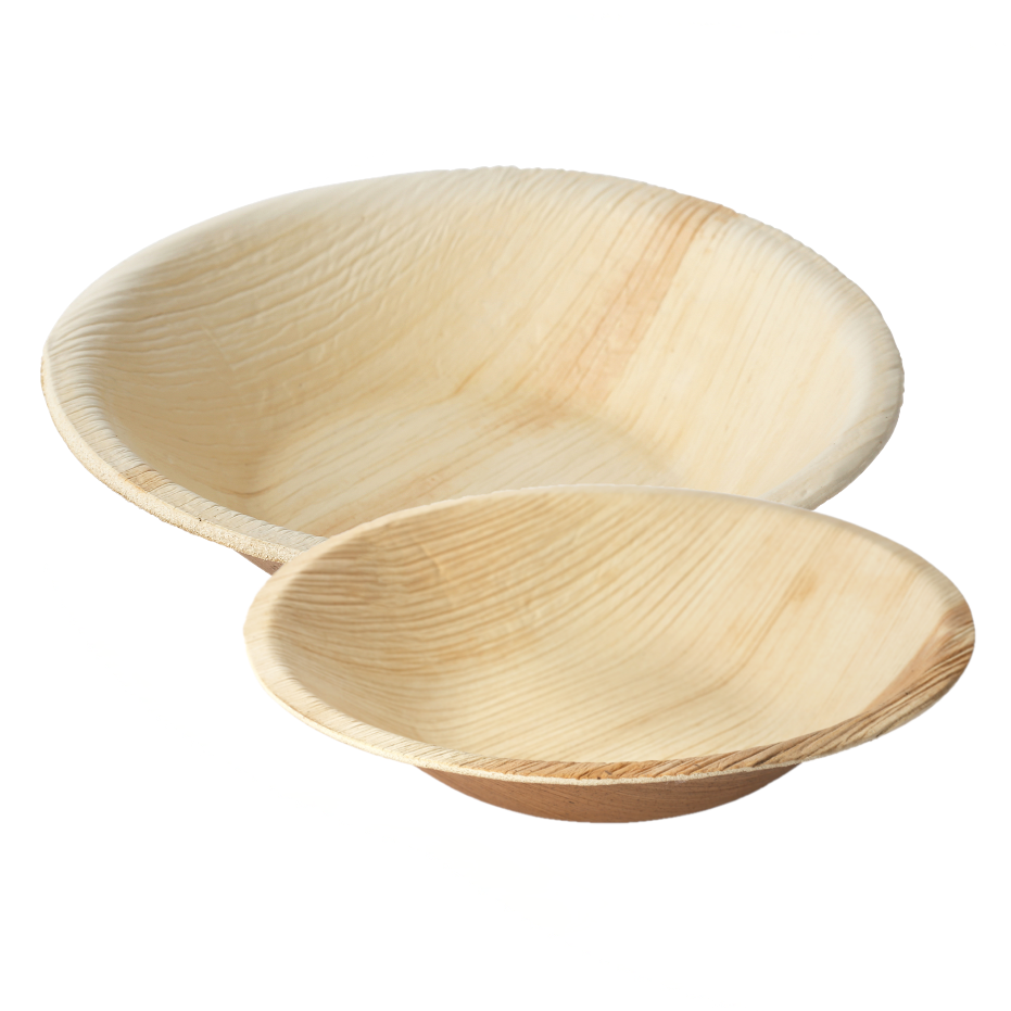 Palm Leaf Round Bowls - 25 Pack