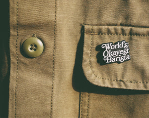 World's okayst barista pin - 2Camelz