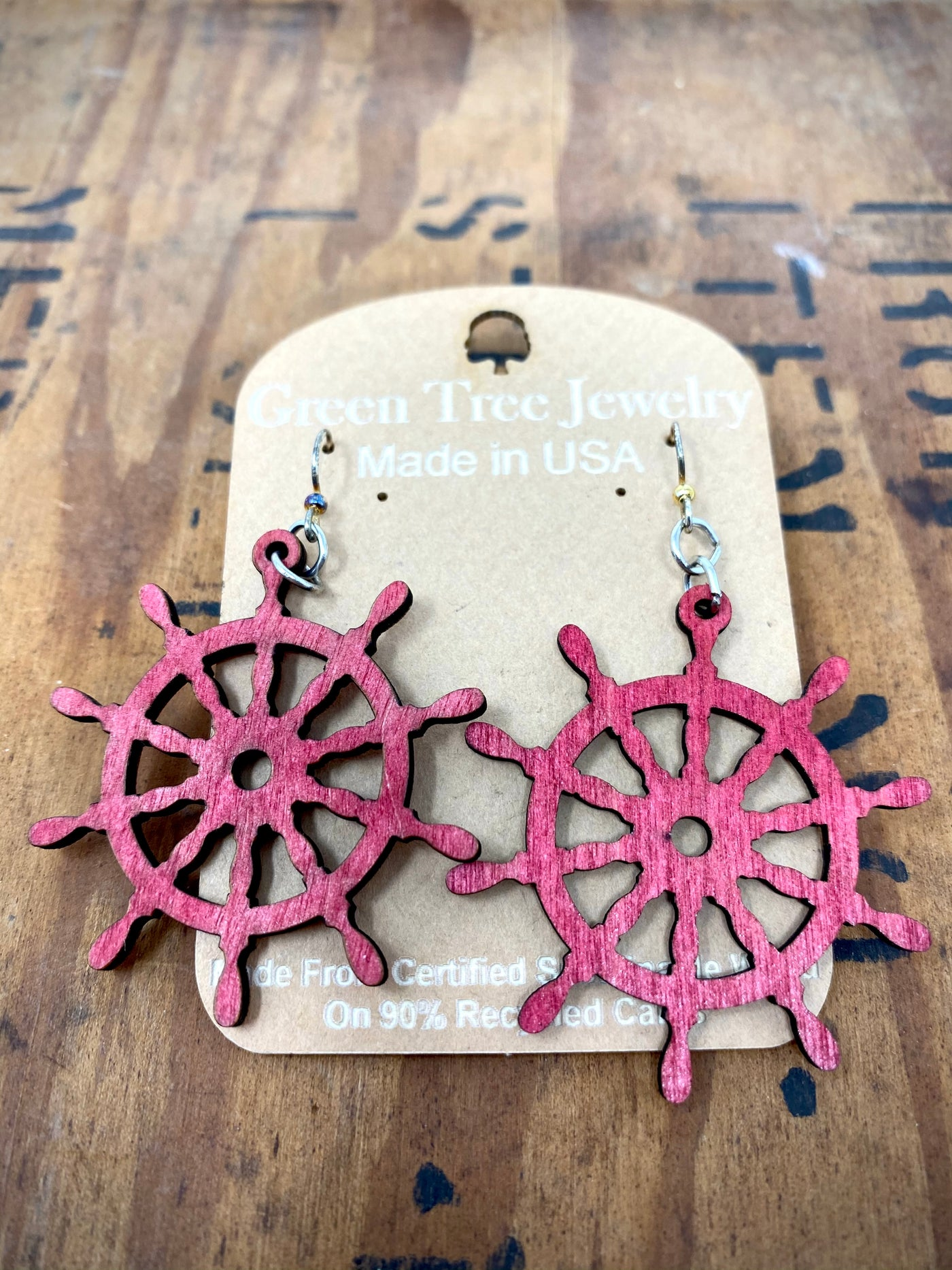 Ship Wheel Wood Earrings
