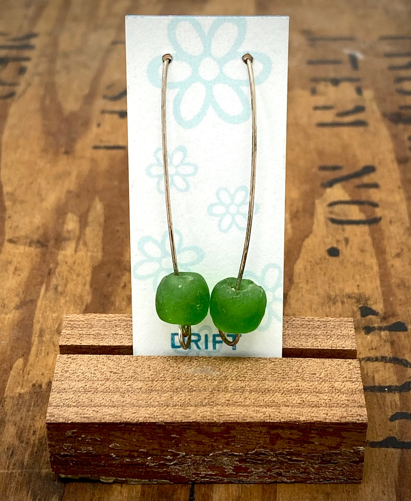 Driftworks Long Drop Sea Glass Earrings