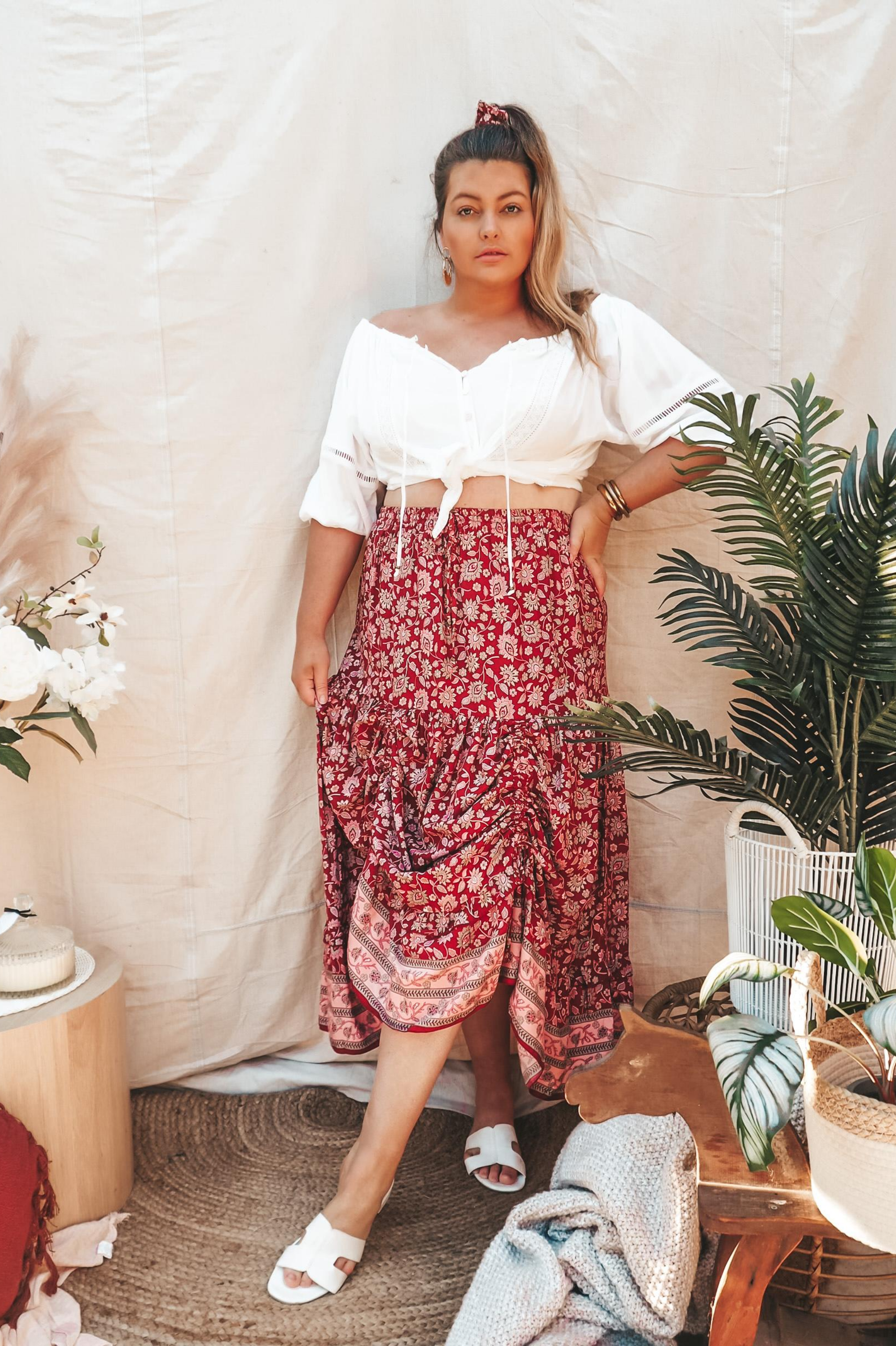 Dahlia Maxi Skirt 🍓 Strawberry Wine - Saffron Road