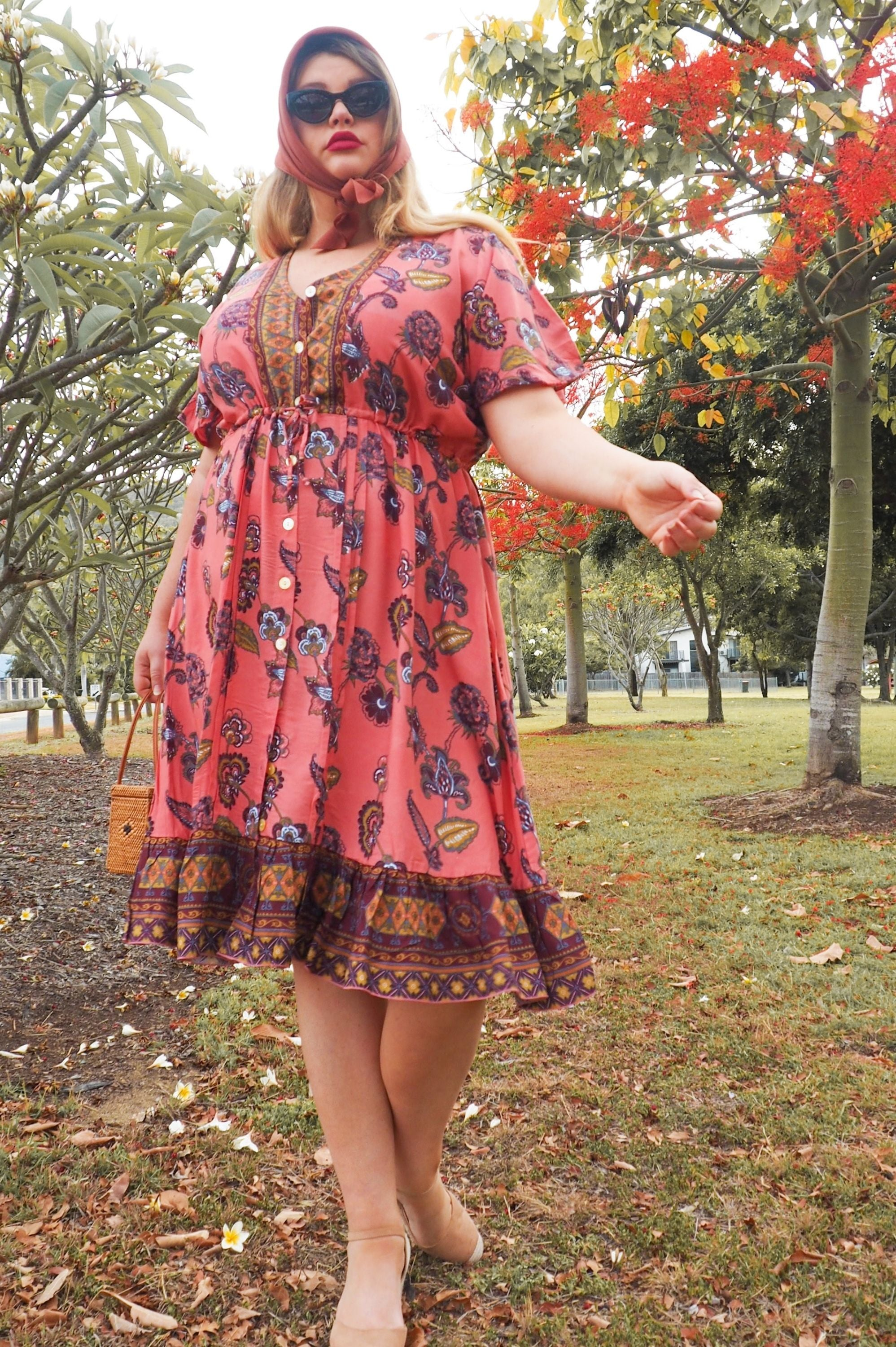 Midi Length Duster / Dress 🌷 Rose Caravan - Saffron Road
