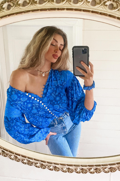 Jasmine Billow Sleeve Top 🌊 Blue Hawaii - Saffron Road