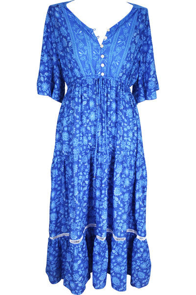 Boho Drifter Midi Dress 🌊 Blue Hawaii - Saffron Road