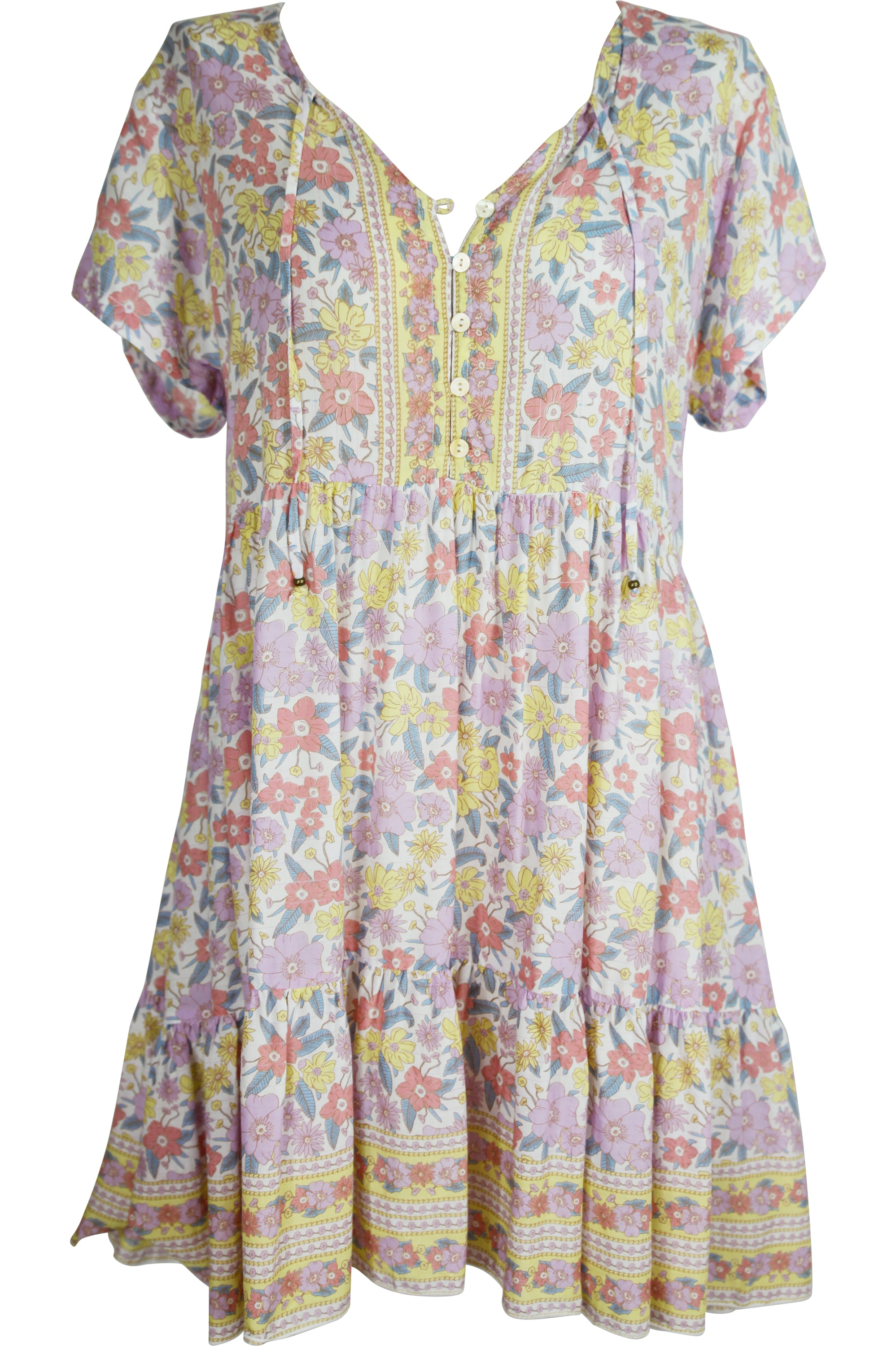 Juliette Dress 🌸 70's Floral Short - Saffron Road