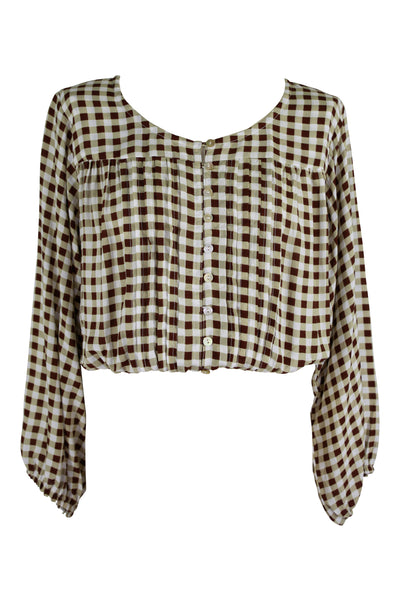 Bianca Crop 🤎 Chocolate Gingham - Saffron Road