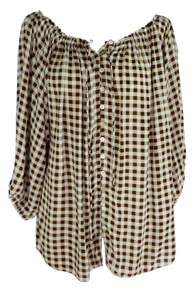 Paris Night Top Chocolate Gingham - Saffron Road
