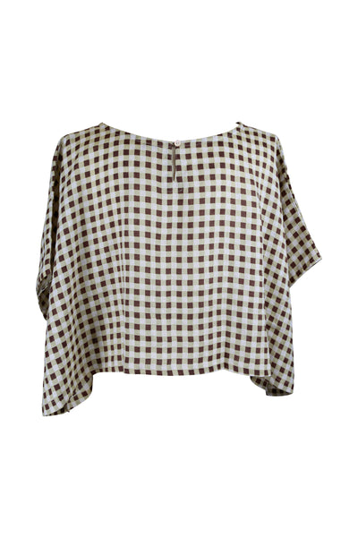 The Nat Top  Black, Chocolate and Gingham Linen - Saffron Road