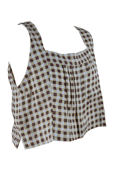 Lotus Tank Linen Chocolate Gingham - Saffron Road