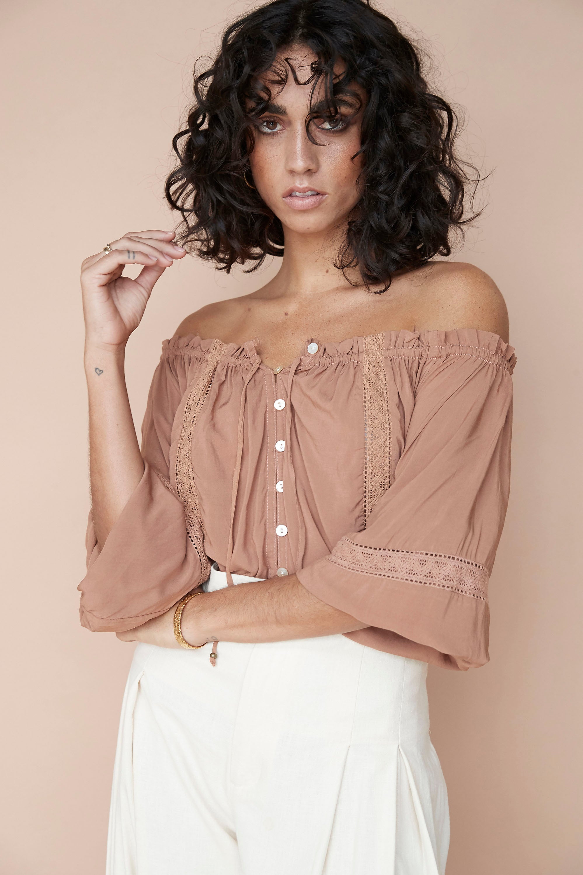 Paris Night Top ♡ Mocha - Saffron Road