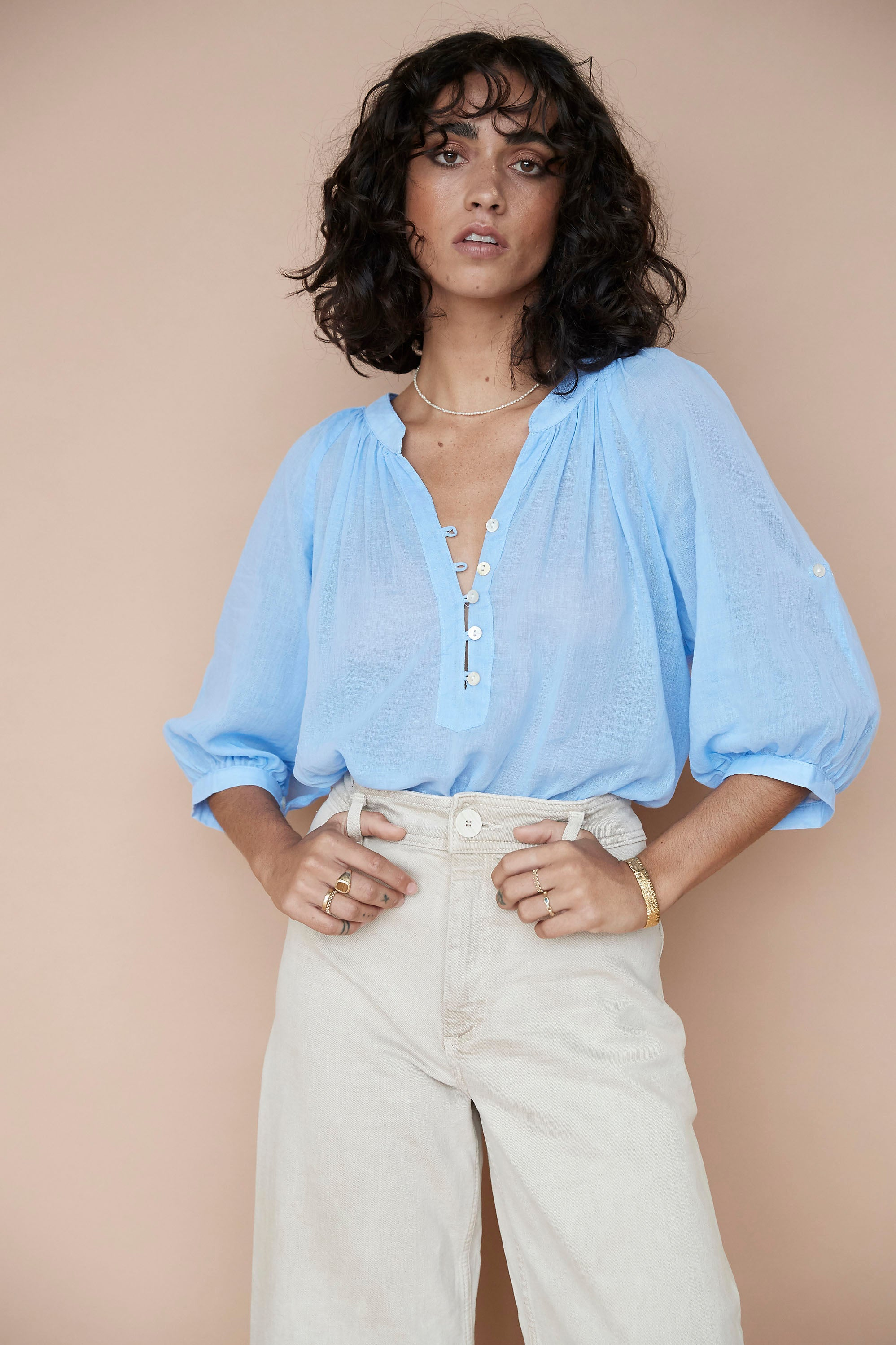 Bella Blouse ♡ Chambray Blue - Saffron Road