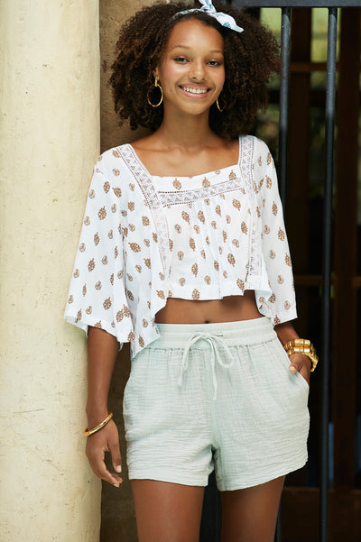Lotus Flower Crop Top Mocha - Saffron Road