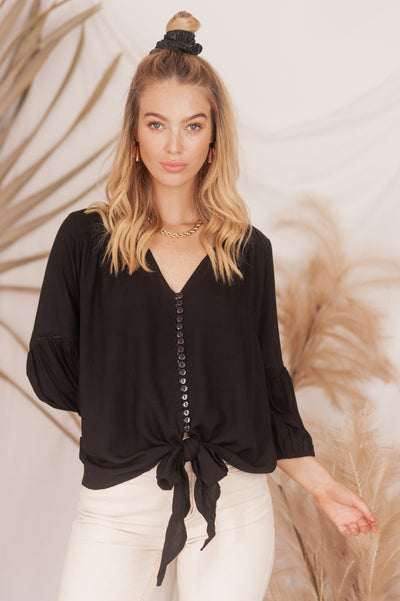 Jasmine Tie Top 🌜 Moonlight Black - Saffron Road
